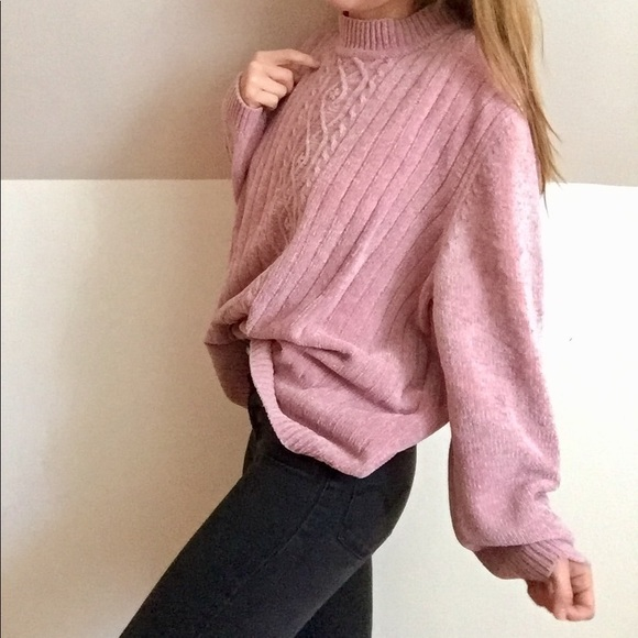 Alfred Dunner Sweaters Oversized Chenille Mockneck Sweater Blush
